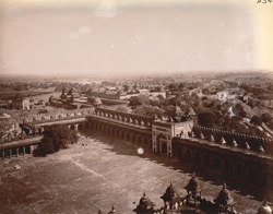 General view of Fatehpur Sikri, from the top of the Buland Darwaza, looking towards the Agra Gate.